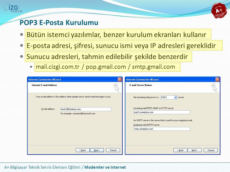 POP3 E-Posta Kurulumu Bütün istemci yazılımlar, benzer kurulum ekranları kullanır. E-posta adresi, şifresi, sunucu ismi veya IP adresleri gereklidir.