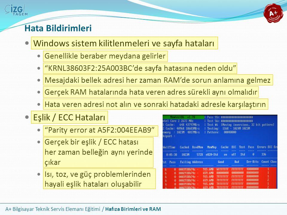 Hata Bildirimleri Windows sistem kilitlenmeleri ve sayfa hataları