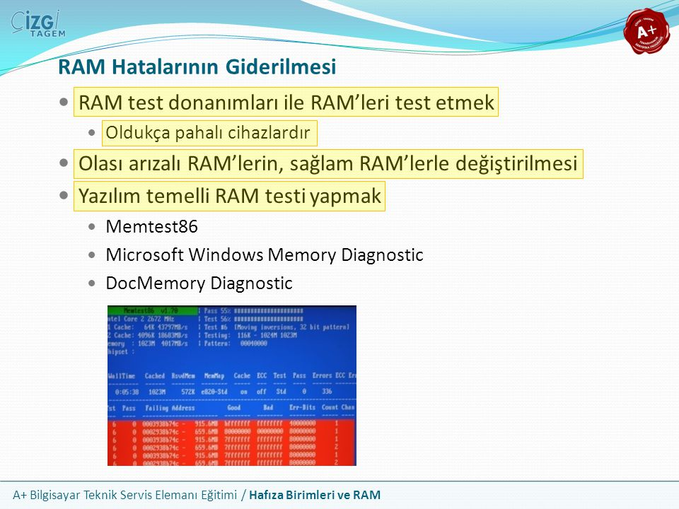 RAM Hatalarının Giderilmesi
