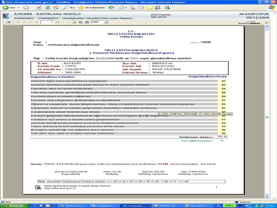 Şekil 12/b Ortaöğretim yönetici/personel raporu