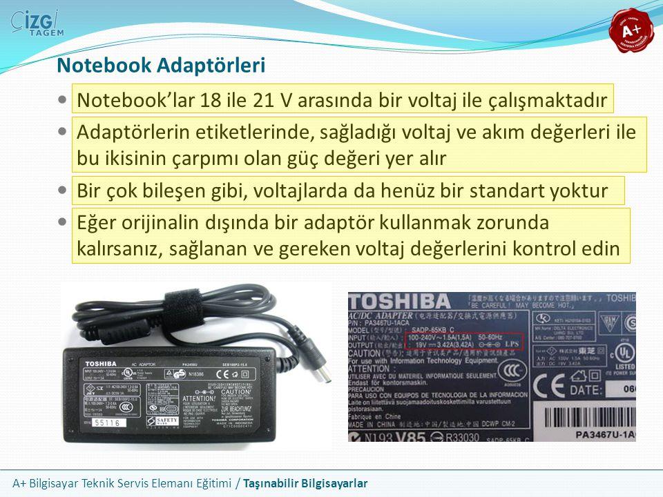 Notebook Adaptörleri Notebook'lar 18 ile 21 V arasında bir voltaj ile çalışmaktadır.