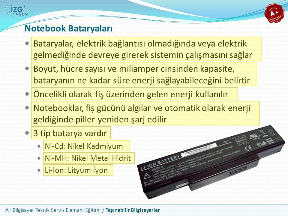 Notebook Bataryaları Bataryalar, elektrik bağlantısı olmadığında veya elektrik gelmediğinde devreye girerek sistemin çalışmasını sağlar.