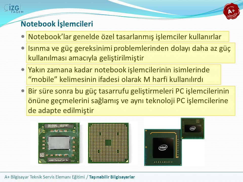 Notebook İşlemcileri Notebook'lar genelde özel tasarlanmış işlemciler kullanırlar.