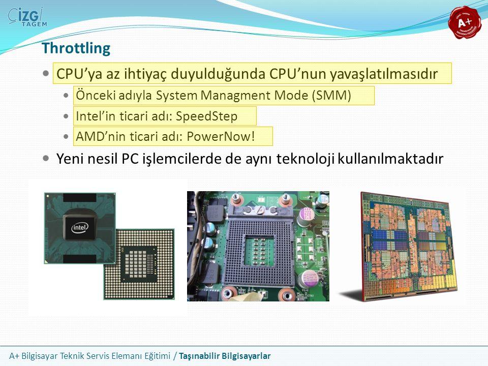 Throttling CPU'ya az ihtiyaç duyulduğunda CPU'nun yavaşlatılmasıdır