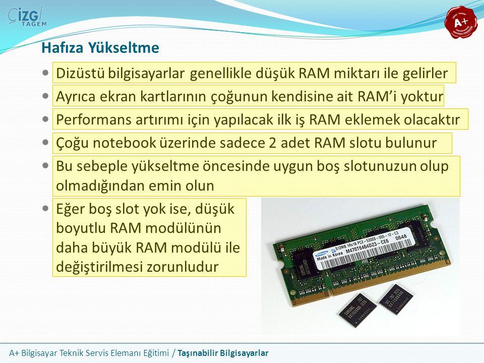 Hafıza Yükseltme Dizüstü bilgisayarlar genellikle düşük RAM miktarı ile gelirler. Ayrıca ekran kartlarının çoğunun kendisine ait RAM'i yoktur.