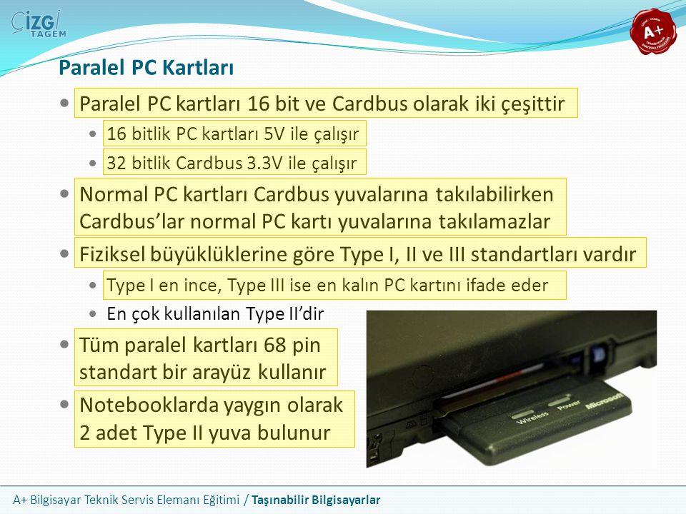 Paralel PC Kartları Paralel PC kartları 16 bit ve Cardbus olarak iki çeşittir. 16 bitlik PC kartları 5V ile çalışır.