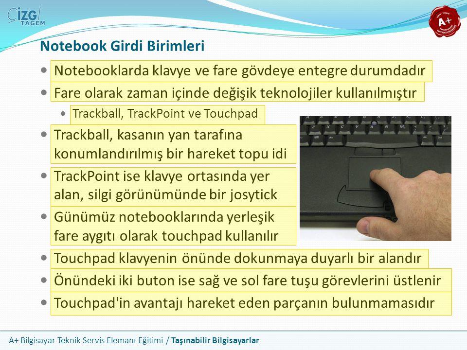Notebook Girdi Birimleri