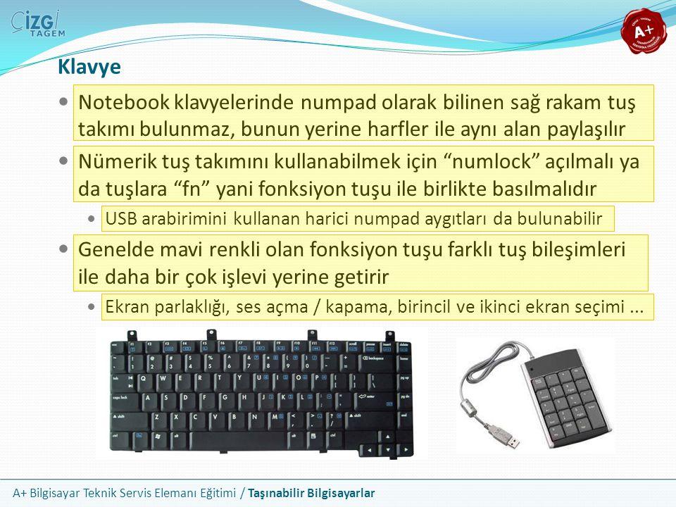 Klavye Notebook klavyelerinde numpad olarak bilinen sağ rakam tuş takımı bulunmaz, bunun yerine harfler ile aynı alan paylaşılır.