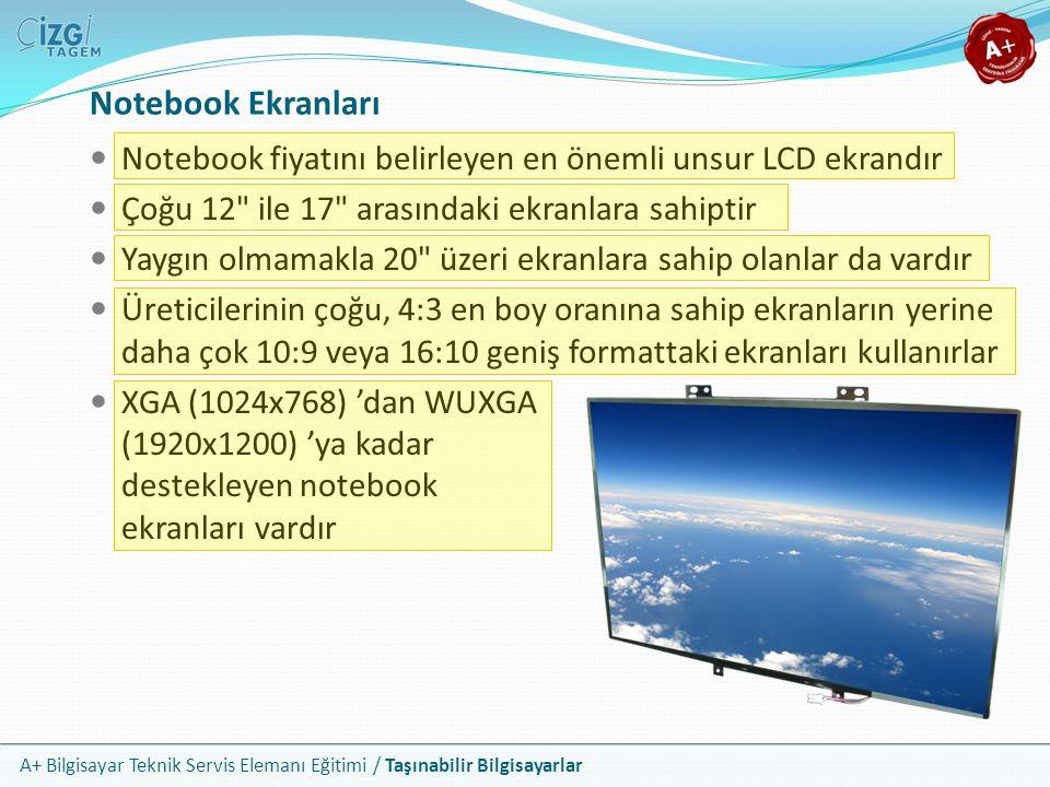 Notebook Ekranları Notebook fiyatını belirleyen en önemli unsur LCD ekrandır. Çoğu 12 ile 17 arasındaki ekranlara sahiptir.