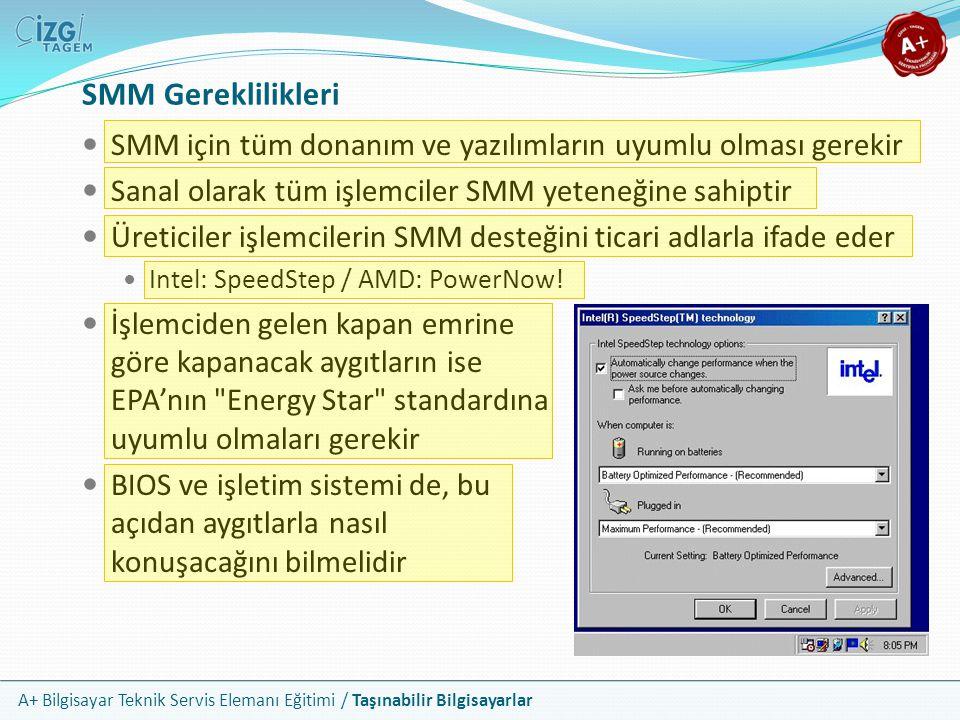 SMM Gereklilikleri SMM için tüm donanım ve yazılımların uyumlu olması gerekir. Sanal olarak tüm işlemciler SMM yeteneğine sahiptir.
