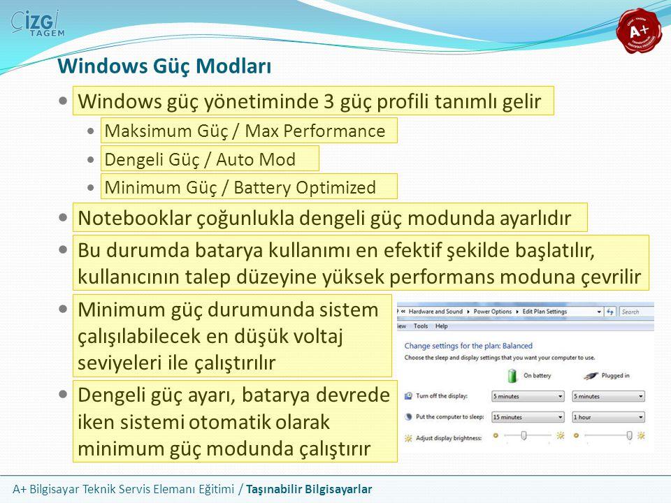 Windows Güç Modları Windows güç yönetiminde 3 güç profili tanımlı gelir. Maksimum Güç / Max Performance.