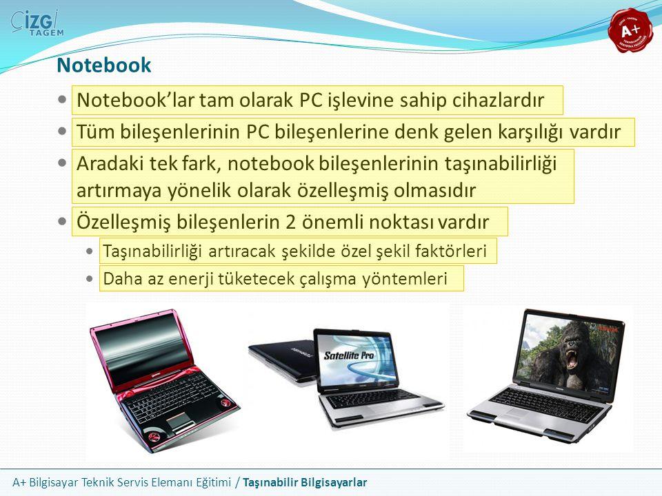 Notebook Notebook'lar tam olarak PC işlevine sahip cihazlardır