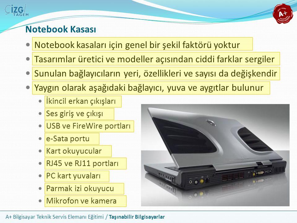 Notebook Kasası Notebook kasaları için genel bir şekil faktörü yoktur