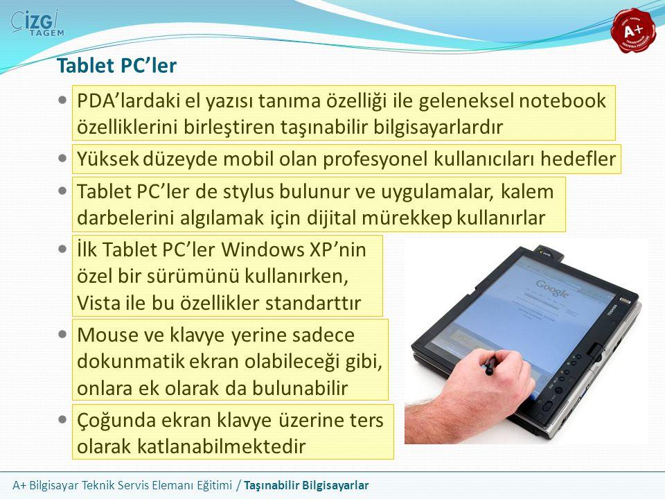 Tablet PC'ler PDA'lardaki el yazısı tanıma özelliği ile geleneksel notebook özelliklerini birleştiren taşınabilir bilgisayarlardır.