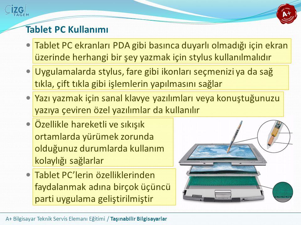 Tablet PC Kullanımı Tablet PC ekranları PDA gibi basınca duyarlı olmadığı için ekran üzerinde herhangi bir şey yazmak için stylus kullanılmalıdır.