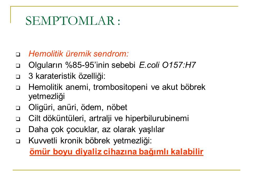 SEMPTOMLAR : Hemolitik üremik sendrom: