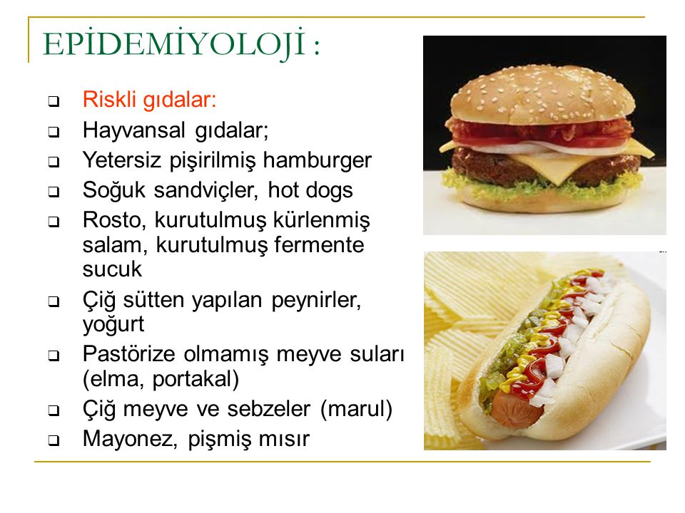 EPİDEMİYOLOJİ : Riskli gıdalar: Hayvansal gıdalar;