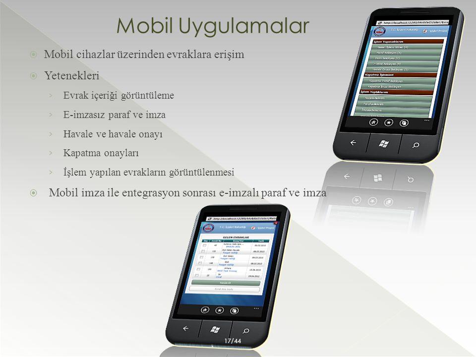 Mobil Uygulamalar Mobil cihazlar üzerinden evraklara erişim