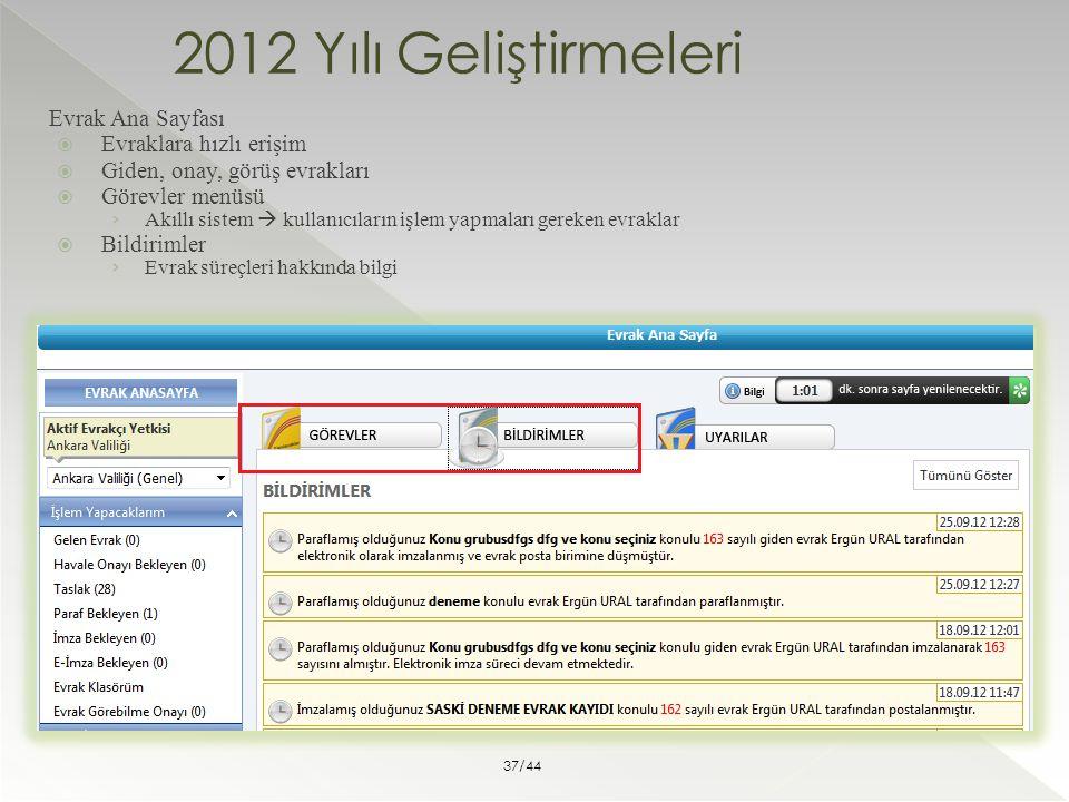 2012 Yılı Geliştirmeleri Evrak Ana Sayfası Evraklara hızlı erişim