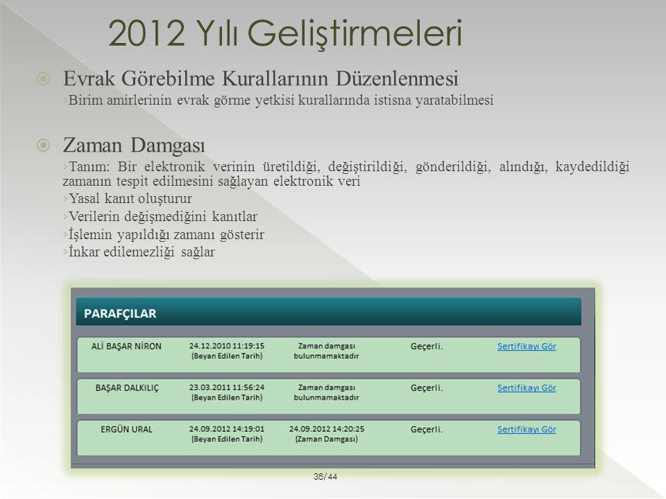 2012 Yılı Geliştirmeleri Evrak Görebilme Kurallarının Düzenlenmesi