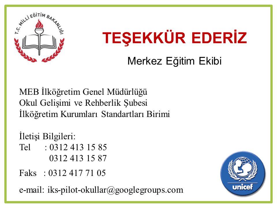 TEŞEKKÜR EDERİZ Merkez Eğitim Ekibi MEB İlköğretim Genel Müdürlüğü