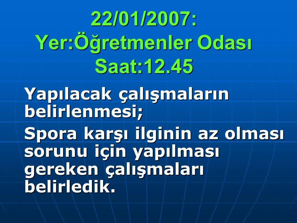 22/01/2007: Yer:Öğretmenler Odası Saat:12.45