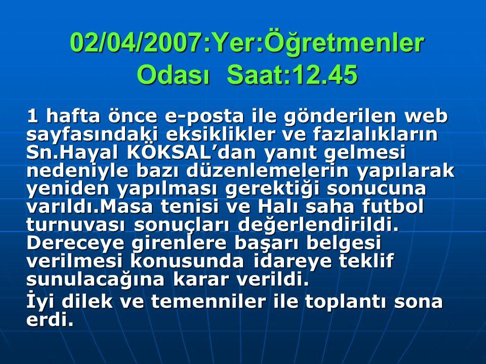 02/04/2007:Yer:Öğretmenler Odası Saat:12.45