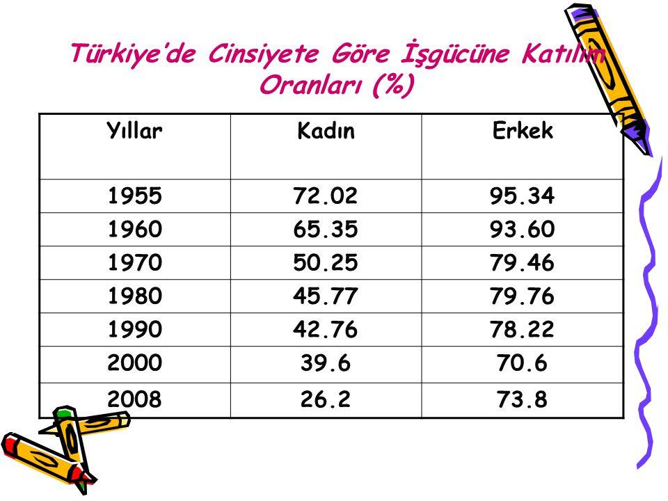 Türkiye'de Cinsiyete Göre İşgücüne Katılım Oranları (%)