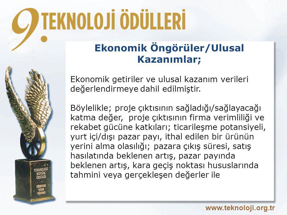 Ekonomik Öngörüler/Ulusal Kazanımlar;