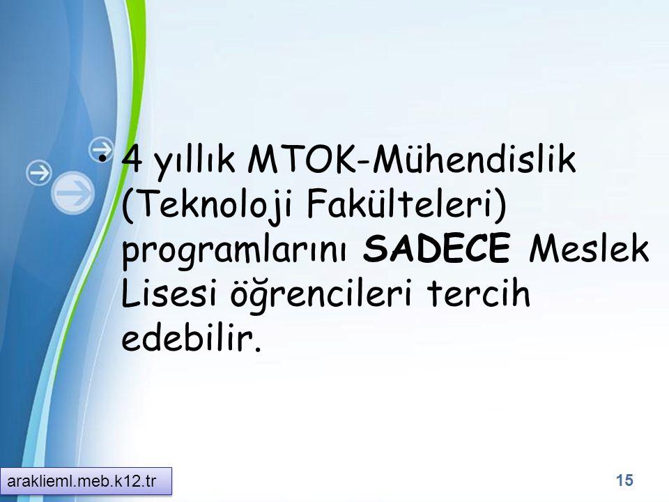 4 yıllık MTOK-Mühendislik (Teknoloji Fakülteleri) programlarını SADECE Meslek Lisesi öğrencileri tercih edebilir.