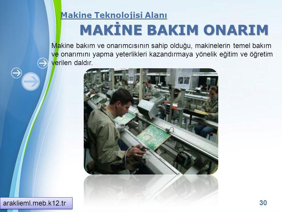 MAKİNE BAKIM ONARIM Makine Teknolojisi Alanı