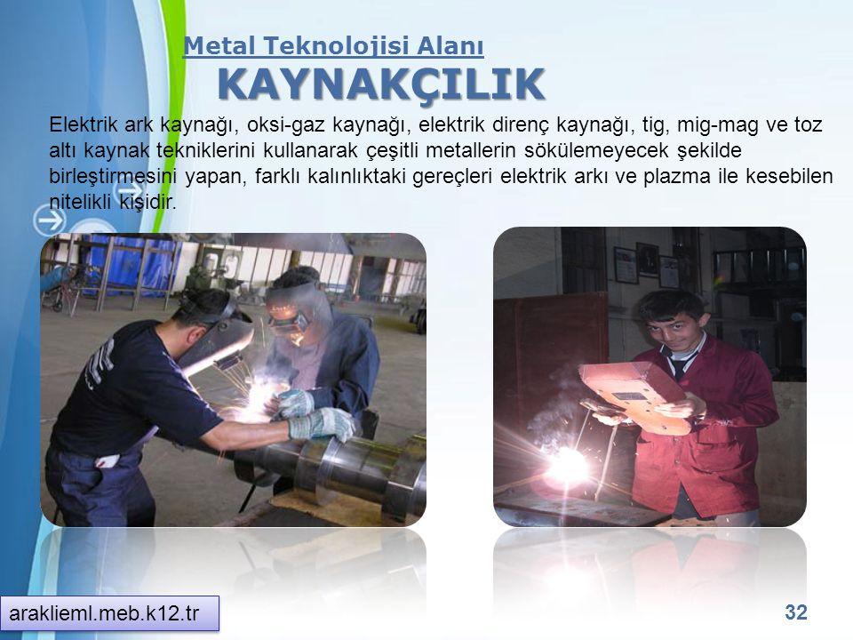 KAYNAKÇILIK Metal Teknolojisi Alanı