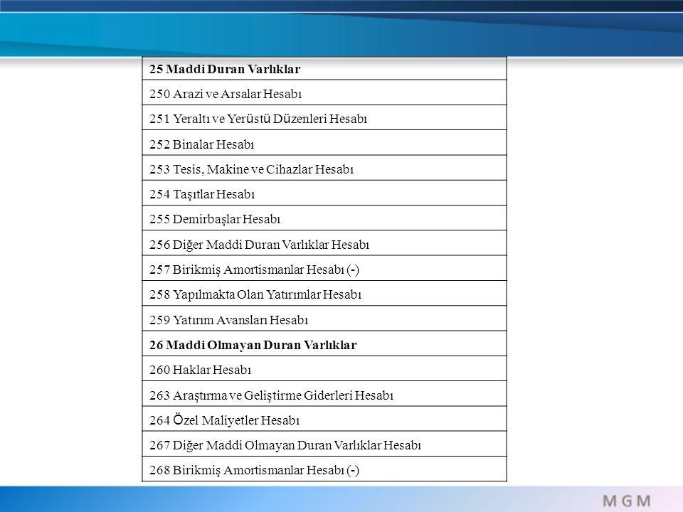 25 Maddi Duran Varlıklar 250 Arazi ve Arsalar Hesabı. 251 Yeraltı ve Yerüstü Düzenleri Hesabı. 252 Binalar Hesabı.