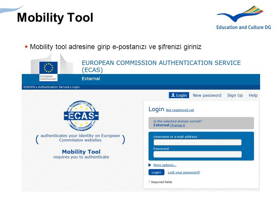 Mobility Tool Mobility tool adresine girip e-postanızı ve şifrenizi giriniz