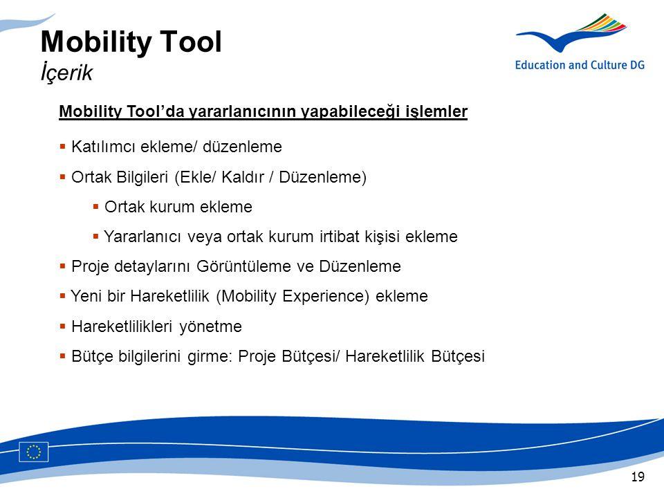 Mobility Tool İçerik Mobility Tool'da yararlanıcının yapabileceği işlemler. Katılımcı ekleme/ düzenleme.