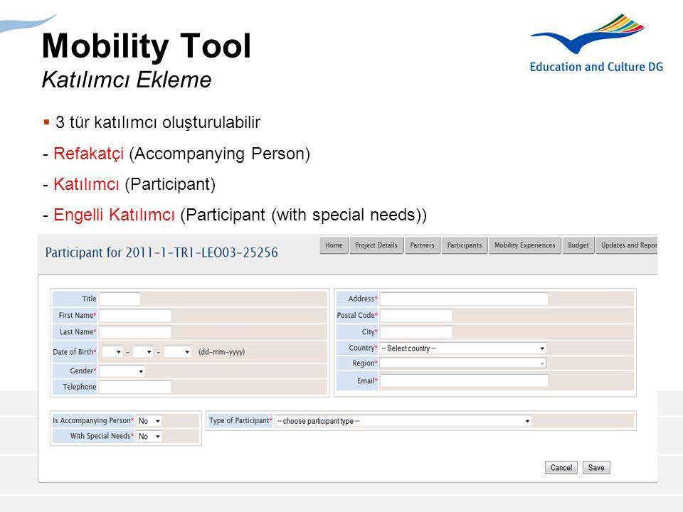 Mobility Tool Katılımcı Ekleme