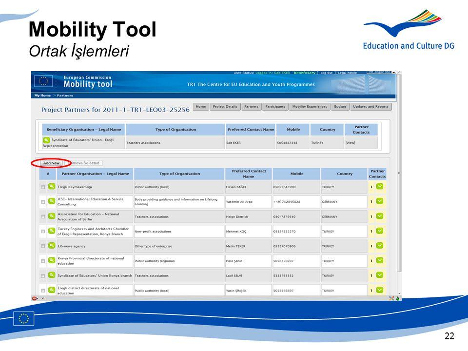 Mobility Tool Ortak İşlemleri