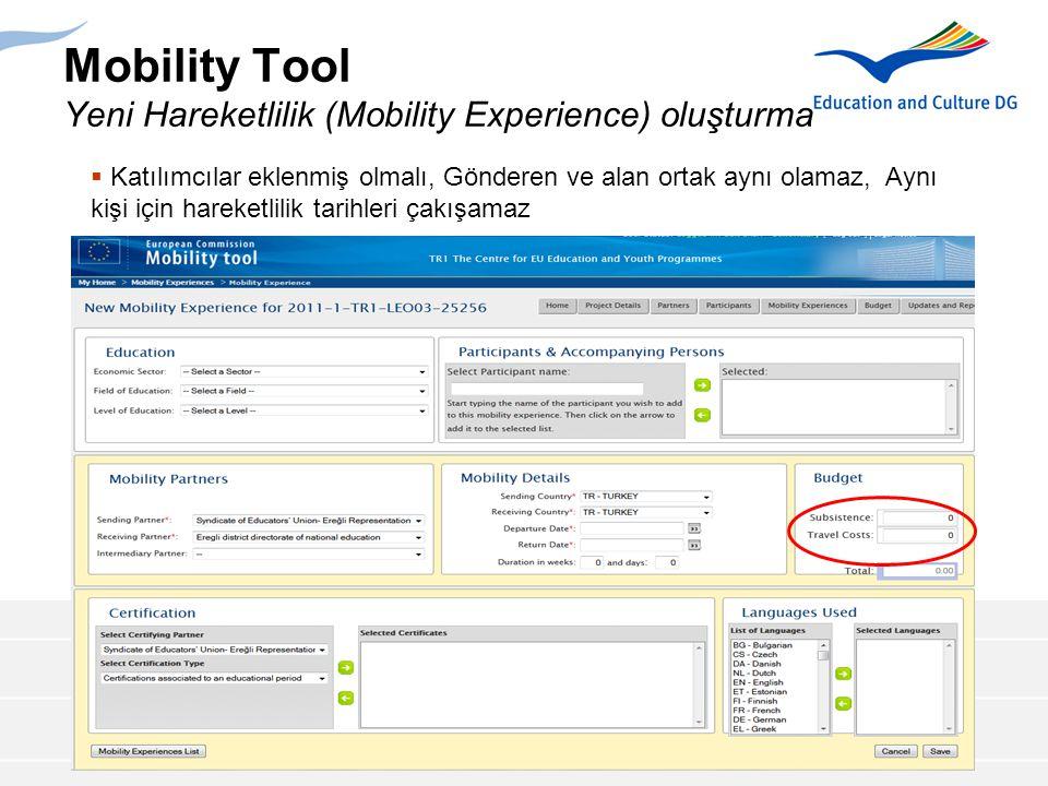 Mobility Tool Yeni Hareketlilik (Mobility Experience) oluşturma