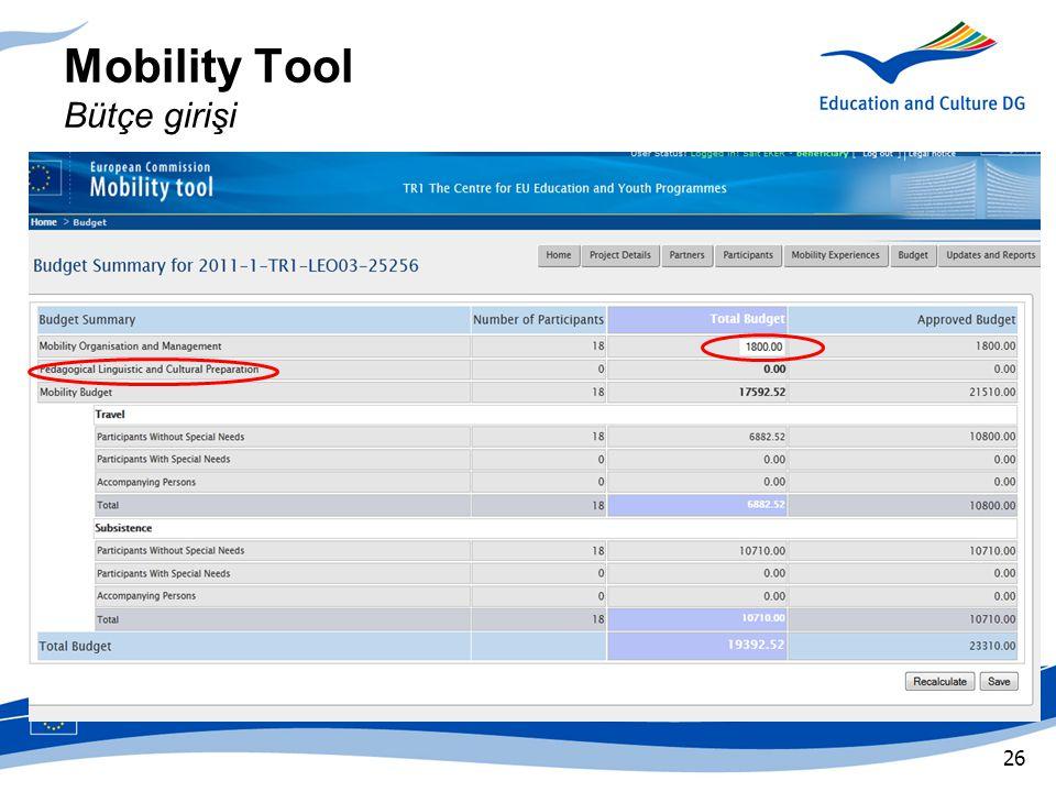 Mobility Tool Bütçe girişi