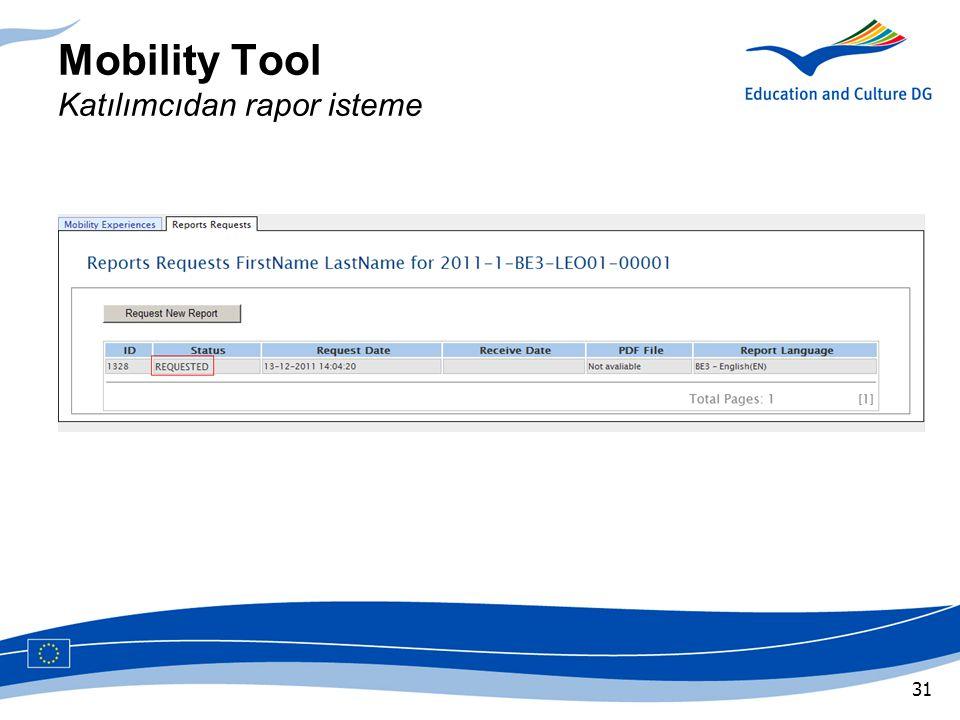 Mobility Tool Katılımcıdan rapor isteme