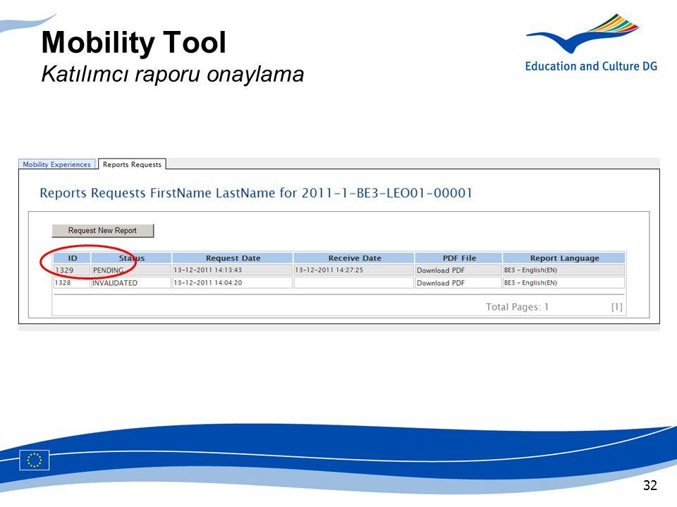 Mobility Tool Katılımcı raporu onaylama