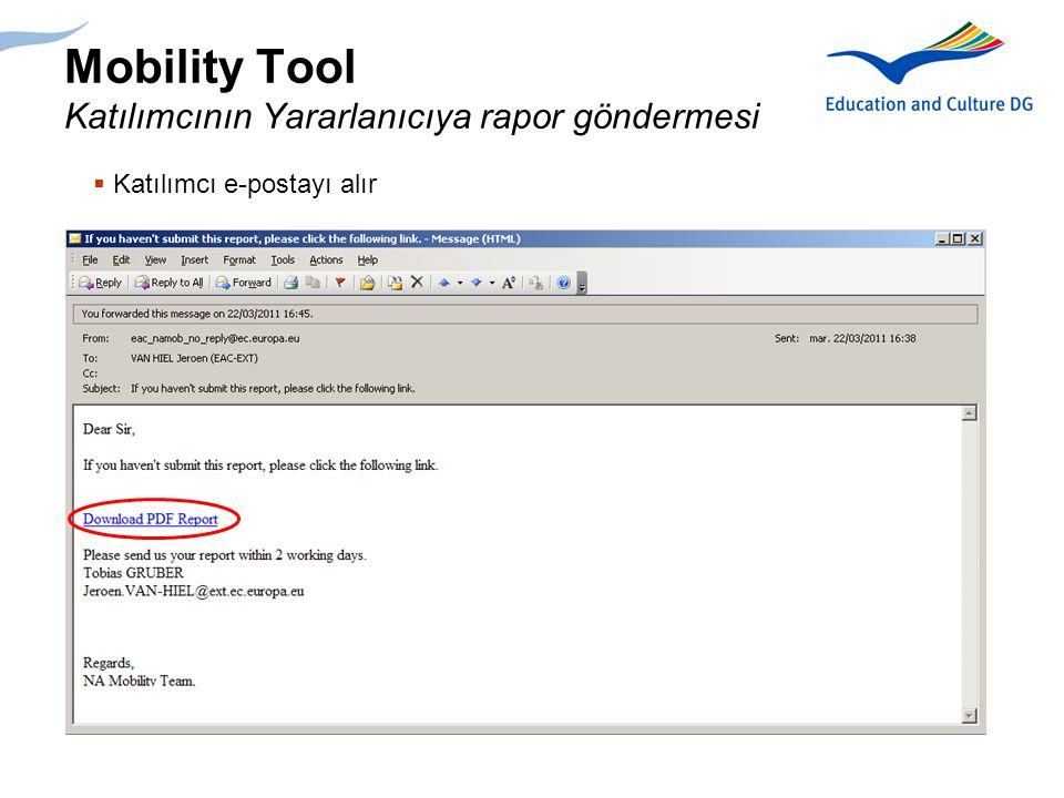 Mobility Tool Katılımcının Yararlanıcıya rapor göndermesi
