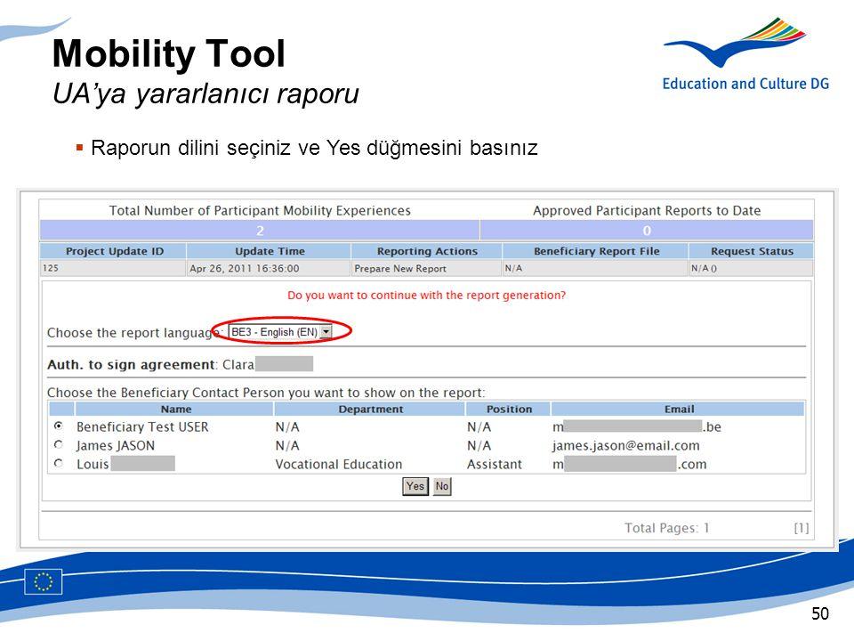 Mobility Tool UA'ya yararlanıcı raporu