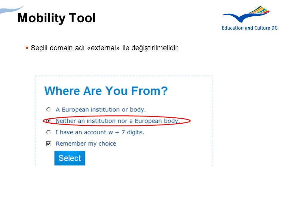 Mobility Tool Seçili domain adı «external» ile değiştirilmelidir.