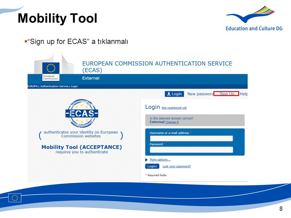 Mobility Tool Sign up for ECAS a tıklanmalı