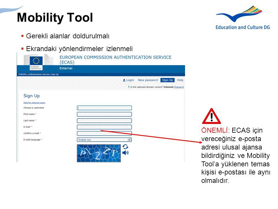 Mobility Tool Gerekli alanlar doldurulmalı