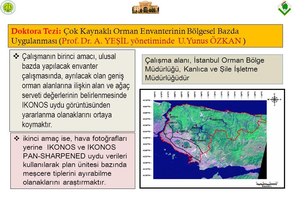 Doktora Tezi: Çok Kaynaklı Orman Envanterinin Bölgesel Bazda Uygulanması (Prof. Dr. A. YEŞİL yönetiminde U.Yunus ÖZKAN )