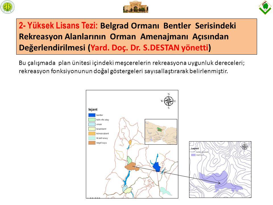 2- Yüksek Lisans Tezi: Belgrad Ormanı Bentler Serisindeki Rekreasyon Alanlarının Orman Amenajmanı Açısından Değerlendirilmesi (Yard. Doç. Dr. S.DESTAN yönetti)