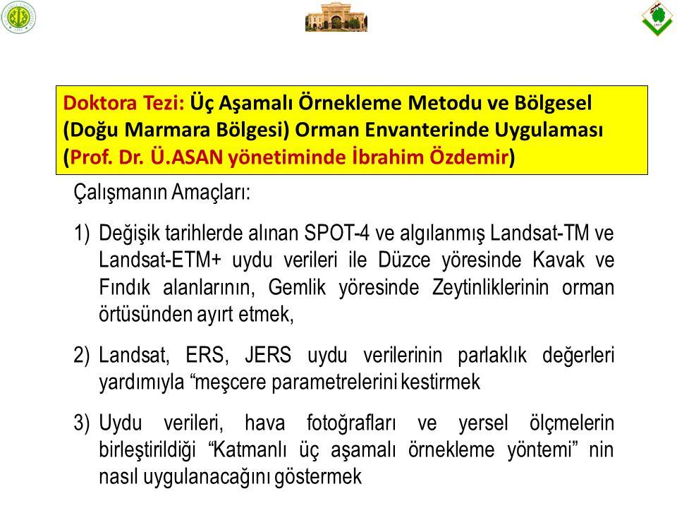 Doktora Tezi: Üç Aşamalı Örnekleme Metodu ve Bölgesel (Doğu Marmara Bölgesi) Orman Envanterinde Uygulaması (Prof. Dr. Ü.ASAN yönetiminde İbrahim Özdemir)