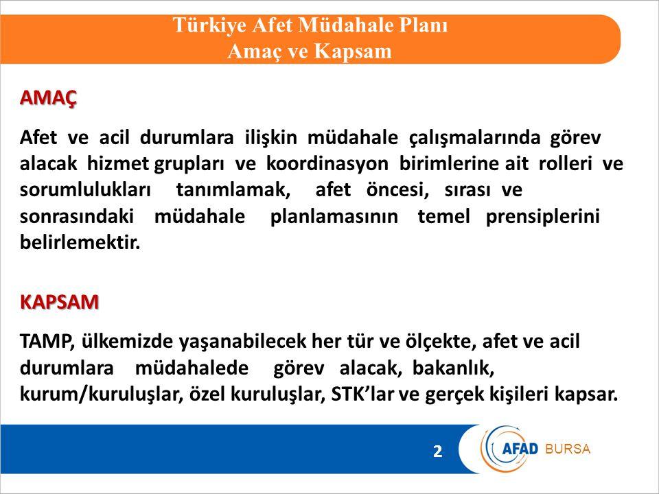Türkiye Afet Müdahale Planı Amaç ve Kapsam